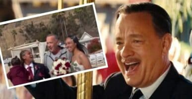 Tom Hanks in Saving Mr Banks (background) with real-life Tom Hanks and newly married couple (foreground)