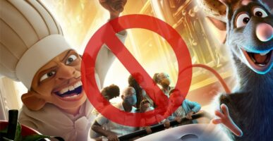 Remy's Ratatouille Adventure Poster with Stop sign