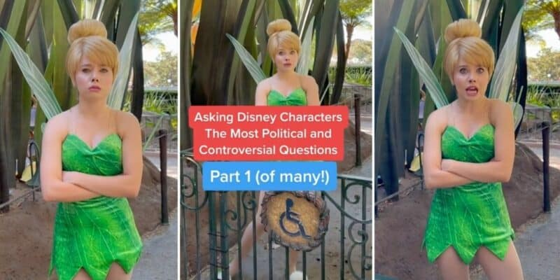 Three images of Tinkerbell at Walt Disney World answeting questions while folding her arms