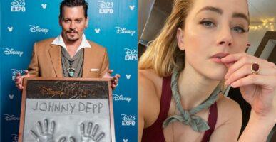 Left - Johnny Depp holding a Disney Legends handprint / Right - Amber Heard