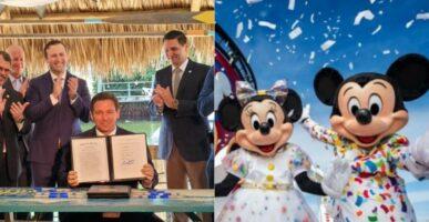 Ron DeSantis signing Landmark Legislation (left)/ Mickey and Minnie onboard the Disney Cruise Line (right)