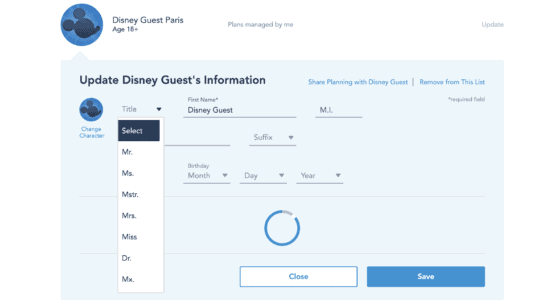 gender neutral title added to My Disney Experience