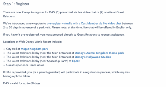 how to register for DAS online at disney