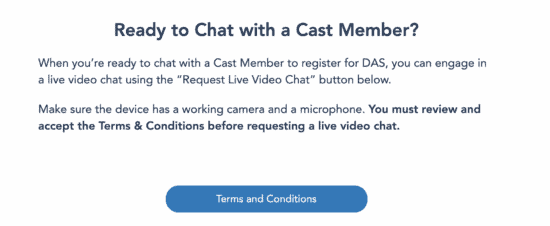 Disney DAS Checkin Chat