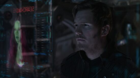 Peter Quill searching for Gamora on the ship's computers