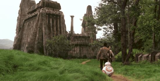 Heroes walking towards Maz Kanata's abode in The Force Awakens