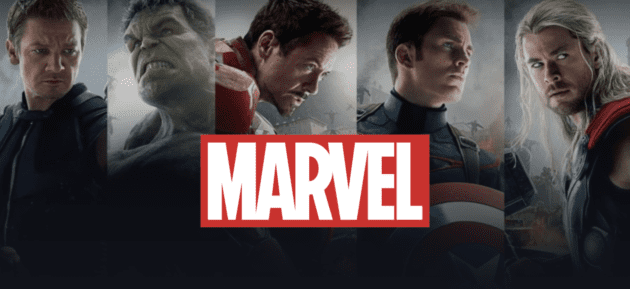 L-R: Hawkeye, Hulk, Iron Man, Captain America and Thor with Marvel logo in the foreground