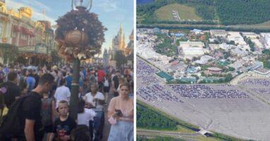 disney world crowds (left) disney parking lot (right)