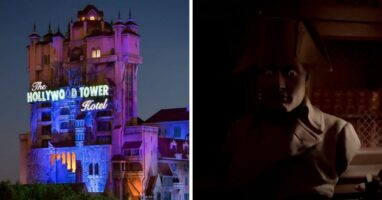 tower of terror (left) statue (right)