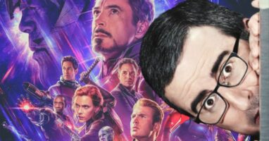 john oliver hiding from the marvel cinematic universe endgame poster