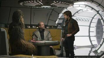 (l-r) chewbacca, tobias beckett, and han solo in millennium falcon