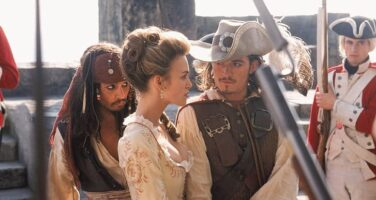 pirates of the caribbean jack sparrow watching will turner and elizabeth swann